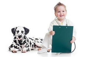 Chiot Dalmatien avec un enfant