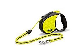 Laisse enrouleur jaune pour chien