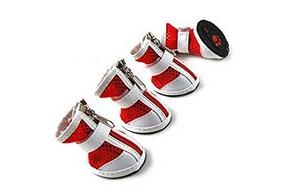 4 chaussures rouge pour chien